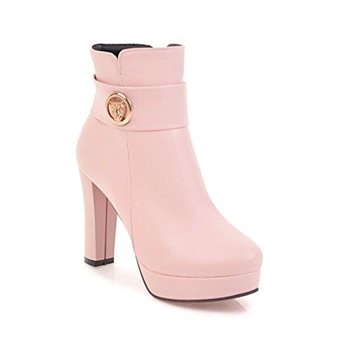 bottes Femme Nouveau Style Haut Talon épais avec Chaussons Grande Taille Pink 0GbEj