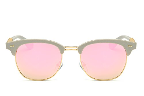 Weidan retro half frame carved polarized sunglasses men and women brand driving sunglasses 662 (Light gray frame / peach pollen lenses, 53)