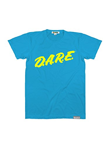 Men's Neon Blue DARE T Shirt - 80's Clothing Halloween Costume Tee (Medium) - Eighties Fashion Costume