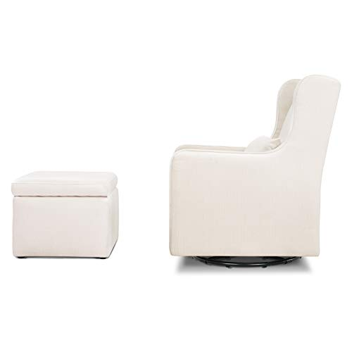 31NLqe8ZRCL - Carter's By Davinci Adrian Swivel Glider With Storage Ottoman In Cream Linen, Water Repellent And Stain Resistant Fabric, Greenguard Gold Certified