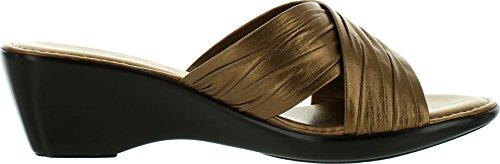 Damianis Kvinna 168 Gjort I Italien Korsmönstrad Rem Glid Sandaler Brons