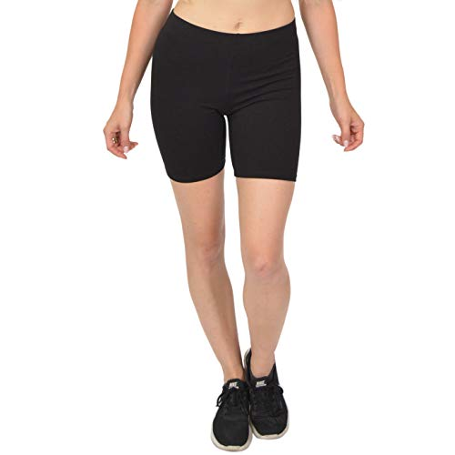 Stretch is Comfort Womens Cotton Bike Shorts Black,2X Plus