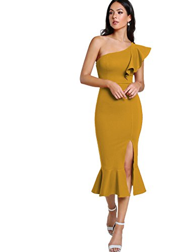 le One Shoulder Split Midi Party Bodycon Dress Yellow XS ()