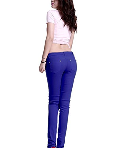 Pantaloni Blu Matita Zaffiro Casuali Pantalones Slim Skinny Alta Donna A Vita Runyue Stretch H5xUqPE