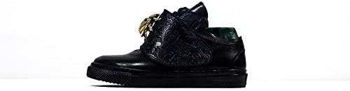Sneek Low XIV - Handmade Italiennes Cuir pour des Hommes Couleur Noir Chaussures Décontractées Sneakers - Cuir de Vachette Cuir Verni - Lacer