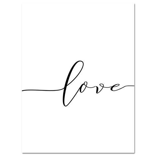 Nordic Poster Black and White Holding Hands Picture Canvas Prints Lover Quote Painting Wall Art for Living Room Minimalist Decor,10x15cm No Frame,ZZ10588-01