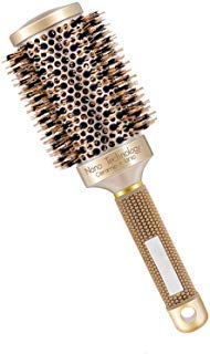 SOLANAR Nano Thermal Ceramic & lonic Round Barrel Hair Brush with Natural Boar Bristle, for Hair Drying, Styling, Curling, Adding Hair Volume and Shine,Gold Color(2 inch)