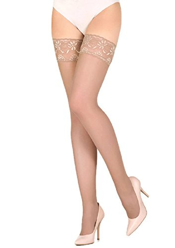 Marilyn Erotic Lace Silicone Band Hold-ups Thigh Highs (S/M, Bronze Tan)