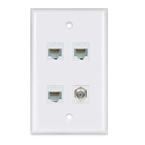 3 Ethernet Coax Wall Plate - Cat6 RJ45 Coaxial Wall Plate with 3 Ethernet Port + 1 Coax Connector