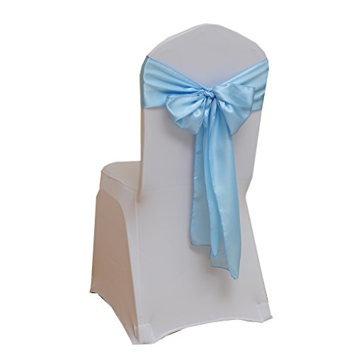 Fvstar 25pcs Sky Blue Satin Chair Sash Bows Party Chair Ribbon Wedding Chair Back Tie Bands for Bridal and Events Supplies Baby Shower Birthday Christmas New Year Decorations Without White ()
