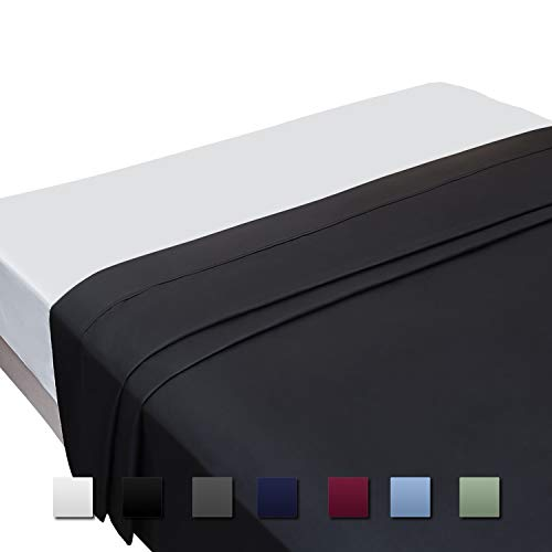 Cok Flat Sheet, Ultra Soft Polyester Microfiber Bed Sheet - Cool & Breathable, No Wrinkle, Fade Resistant, Hypoallergenic Sheet, 1 Pack (Black, Full)