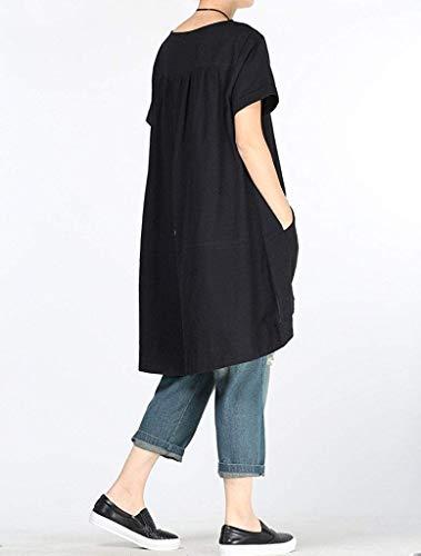 color Tamaño Zhrui Mujer Camiseta Dobladillo Para De Redondo Claro Gris Vestidos Nueva Negro Bajo Verano Cuello L PPqn6f