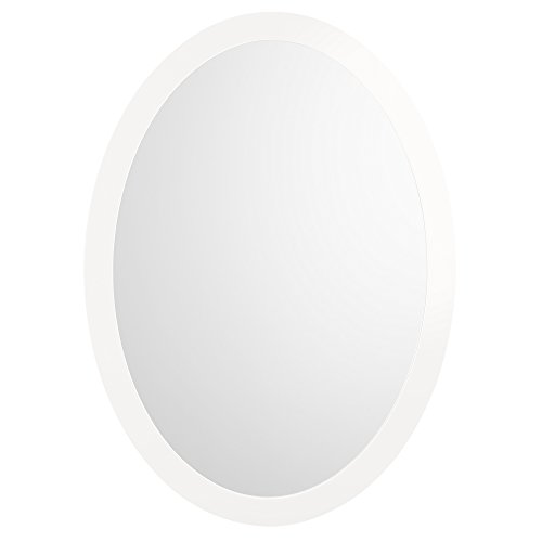 RONBOW Silhouette 23'' x 32'' Contemporary Solid Wood Frame Wall Decor Oval Bathroom Mirror in Glossy White 600023-E23 by Ronbow