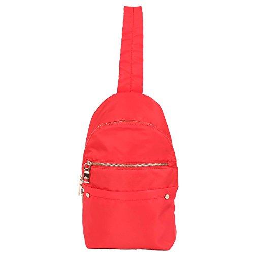ZOCAI Mochila de tela de nylon de tamaño pequeño mochila unisex K15647 Rojo
