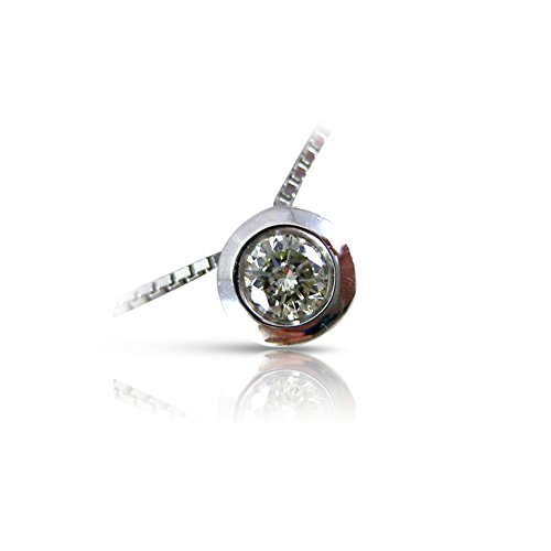Milano Jewelers .29CT ROUND DIAMOND 14KT WHITE GOLD 3D SOLITAIRE BEZEL PENDANT #15913 14kt Bezel Solitaire Diamond Pendants