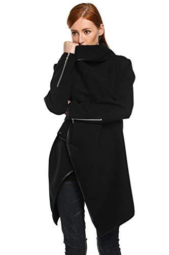 Manga Cardigan Con Chaqueta Negro Asimetricas Irregularmente Mujer Vintage Primavera Poncho Fashion Abrigo Cremallera Ocasional Retro Otoño Larga Abrigos Lana FwFrqxI