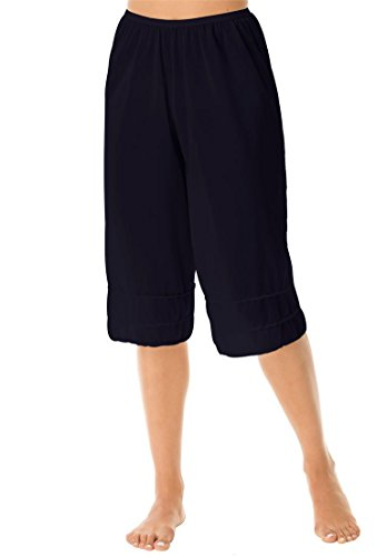 Comfort Choice Women's Plus Size Snip-To-Fit Culotte Underliner Black,2X