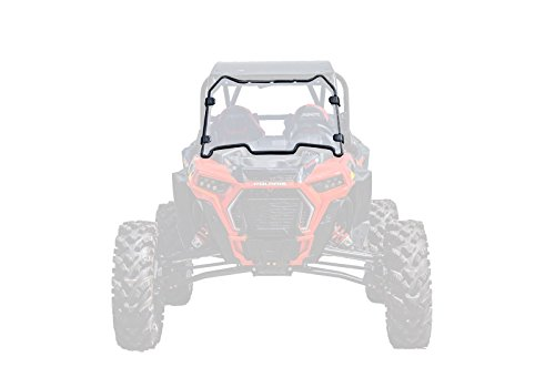 SuperATV Heavy Duty Clear Scratch Resistant Full Windshield for Polaris RZR XP Turbo S/XP Turbo S4 (2018+) - 250X Stronger Than Glass - Installs in 5 Minutes!