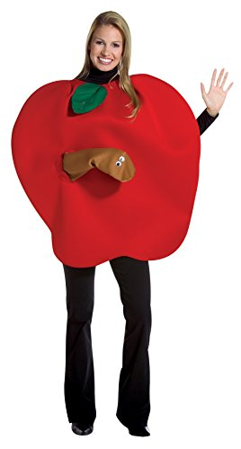 Apple Costumes Adult Size (Apple with Worm Adult, Red, One Size Fits Most)