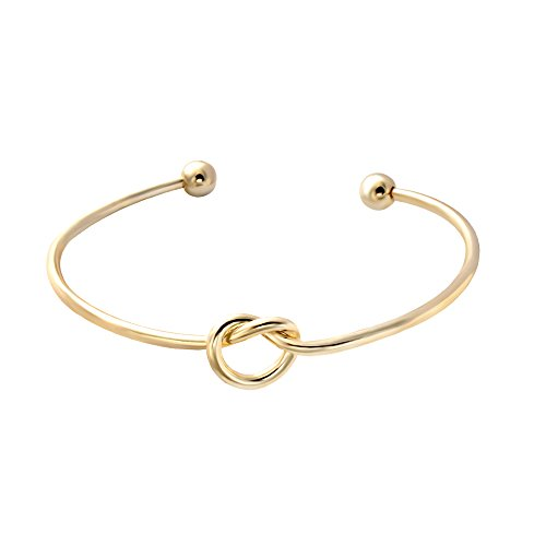 SENFAI Love Knot Bangle Bracelet Simple Knot Bangle Cuffs Women Stretch Bracelet Gold Silver Knot Bangles(Real Plated Bracelet 1)
