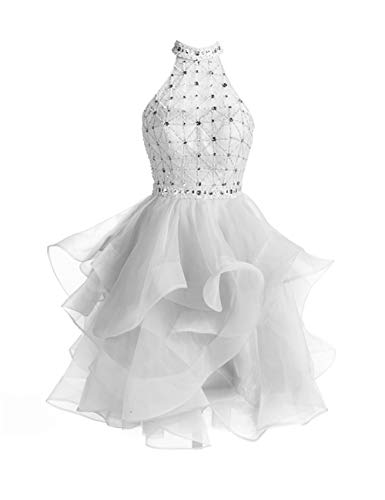 Homecoming Dress Organza Prom Party Gowns Beading High Neck Short Ruffle Silver US20W Beading Organza Homecoming Dress
