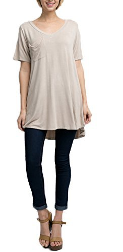 Andree By Unit Ladies Pocket Tee in A Dye Wash Shirt-Taupe-Medium (Dye Wash)