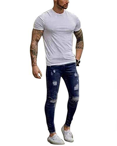 Tamaños Pantalones Look Pantalones Pantalones Slim De De Dunkelblau Pantalones Cómodos Hombres De Ropa Vaqueros Los Destroyed Los Hombres Pantalones Fit Jeggings Ocasionales Los De Pantalones Mezclilla OqOX0a