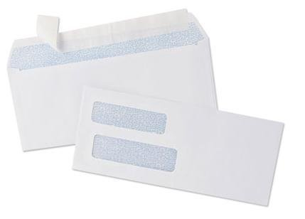500 Self Seal Double Window Security Tinted Envelopes - for Computer Checks (3 5/8'' x 8 11/16'') by Check O Matic
