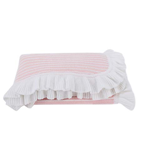 NOREEN Casual Lightweight Spring Summer Striped Cotton Blanket Throw with Ruffled Trim for Infants Toddlers & Kids Couch Sofa Chair (Pink, 30