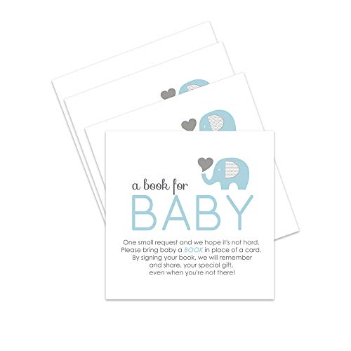 Elephant Bring a Book for Baby Shower Invitation Insert Card Blue Set of -