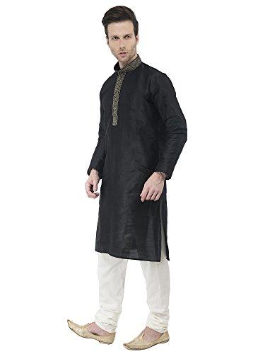 d9a1ca8a6 Mens Black Kurta Pajama Long Sleeve Button Down Shirt Indian Clothing  Fashion Ethnic Dress -L