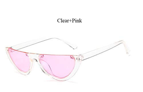 7585fa953 Image Unavailable. Image not available for. Colour: Hectare Buy YF312 Clear  Pink: 2018 New half Women Brand Designer Clear Flat Top Sunglasses