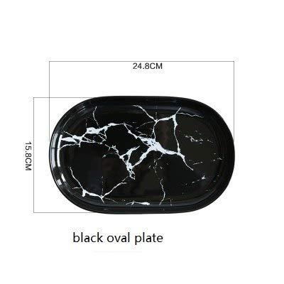 G European Marble Ceramic Dish Face Plate Platter Bow Black and White Dinner Porcelain Plate Tableware: Black Oval Plate ()