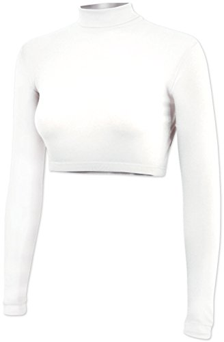 Cropped Cheer Bodysuit - Long Sleeve Cheerleading Turtleneck Crop Top - 100% Nylon Stretch Body Suit For Cheerleaders ()