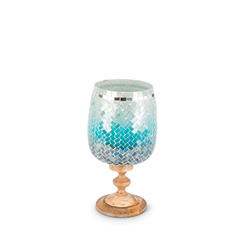 Diva At Home 11.5'' Blue Ombre and Brown Mosaic Hurricane Decorative Candle Holder by Diva At Home