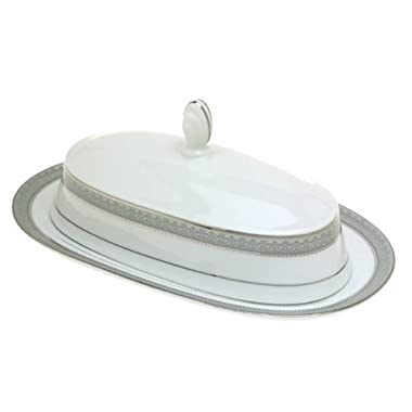 Mikasa Platinum Crown Covered Butter Dish