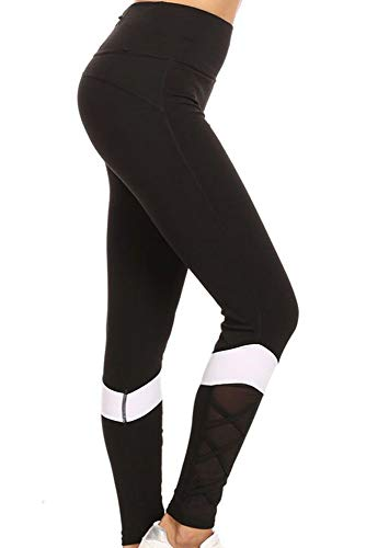 Runner Island Womens Black White Block Mesh Workout Leggings High Waisted Compression and Reflective Zipper Pocket (Black/White, Small/Medium)