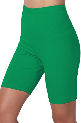 TheMogan Women's Mid Thigh Cotton High Waist Active Short Leggings Kelly Green 1XL -