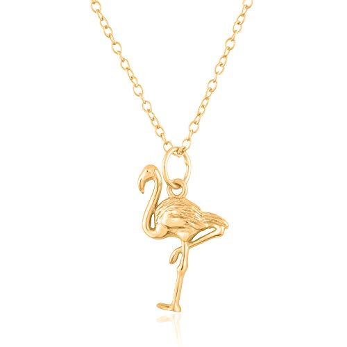 - Sterling Silver 18K Yellow Gold Plated 3D Flamingo Pendant/Charm, with 18-Inch Chain - in Beautiful Polished Finish