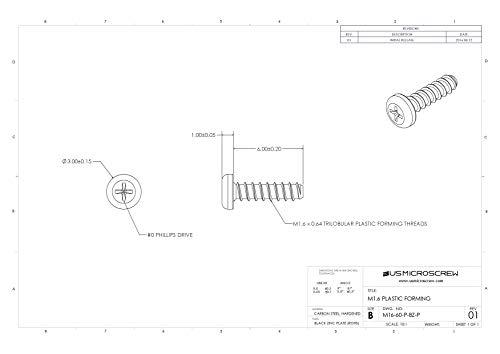 M1.6 X 6mm Plastic Thread Forming Screw Black Zinc Plated Steel Pan Head Phillips Drive (100 Pcs) - M16-60-P-BZ-P