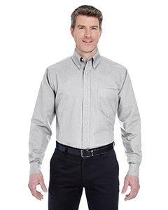 UltraClub� Men's Classic Wrinkle-Free Long-Sleeve Oxford (Charcoal) (Large)
