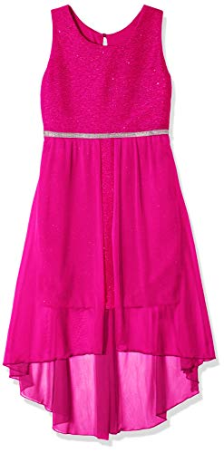 (Amy Byer Girls' Big 7-16 Sleeveless High-Low Party Dress with Lace Bodice, Fuchsia, 14)