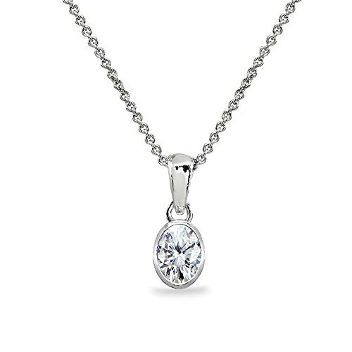 Sterling Silver Cubic Zirconia 8x6mm Oval Bezel-Set Dainty Pendant Necklace for Women, Teen Girls