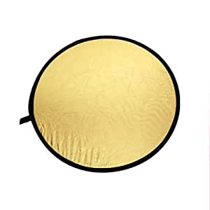 """32"""" 2-in-1 Light Mulit Collapsible Disc Reflector 80cm Silver Gold"""
