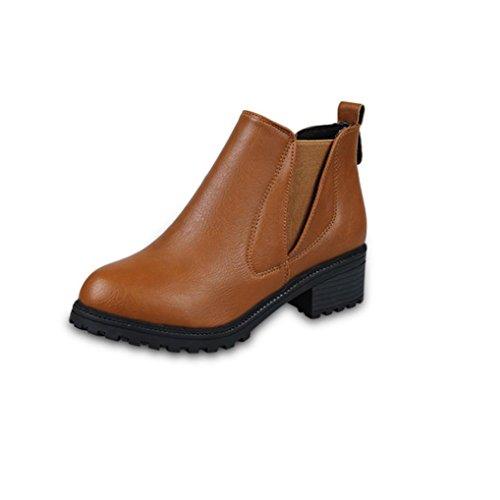 Tacchi Boots BYSTE Donna Martin Bassi Scarpe Stivali Caviglia Stivaletti Marrone p77AHIq