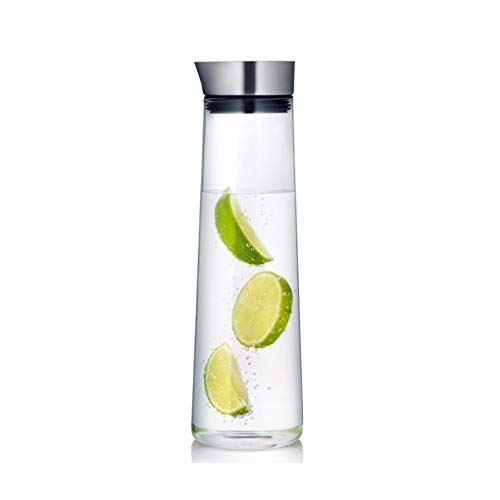 35 OZ Glass Water Pitcher with Stainless Steel Flow Lid - for Hot Iced Water Tea Juice Beverage 1000 - Oz Soap 35