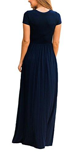 4113e5b4c5 DEARCASE Women Short Sleeve Loose Plain Maxi Dresses Casual Long Dresses  with Pockets