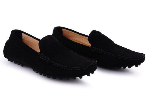 Happyshop (tm) Suède Lederen Mocassin Loafers Voor Heren Comfort Comfortabele Slip-on Loafer Flats Zwart