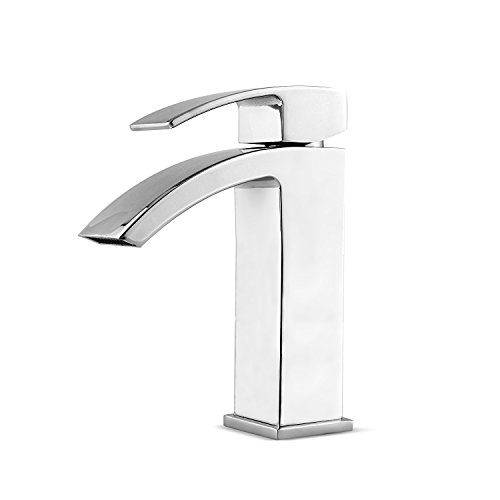 Handles Chrome Waterfall (Amzdeal Bathroom Faucets Single Handle Modern Sink Waterfall Tub Faucets Chrome- Plated Brass Vessel Faucets 7.5 Inch)
