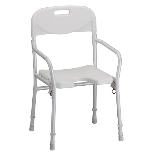 NOVA Foldable Bath and Shower Chair with Arms and Back, U Shaped Front Design for Hygienic Cleaning, Seat Height Adjustable, Travel Folding Bath Seat Chair, White